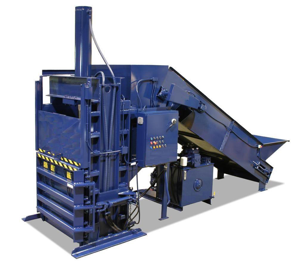 "Super High Volume 60"" Vertical Baler with Conveyor"