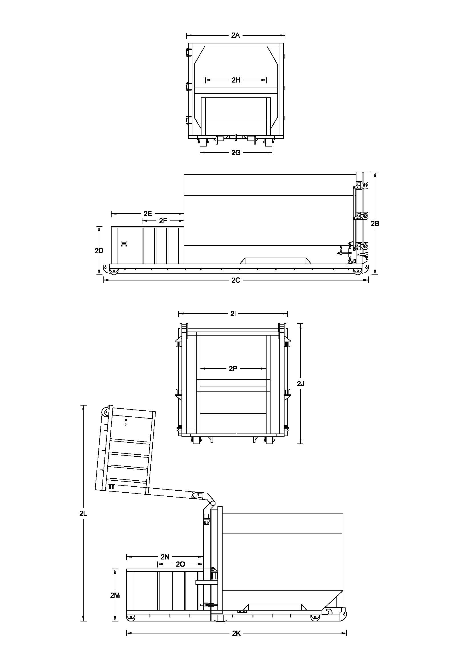 34 Yard Self Contained Compactor Diagram - 2 Yd Charge Box