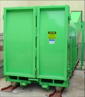 Doors to Two Compartments of Single Stream Self Contained Compactor